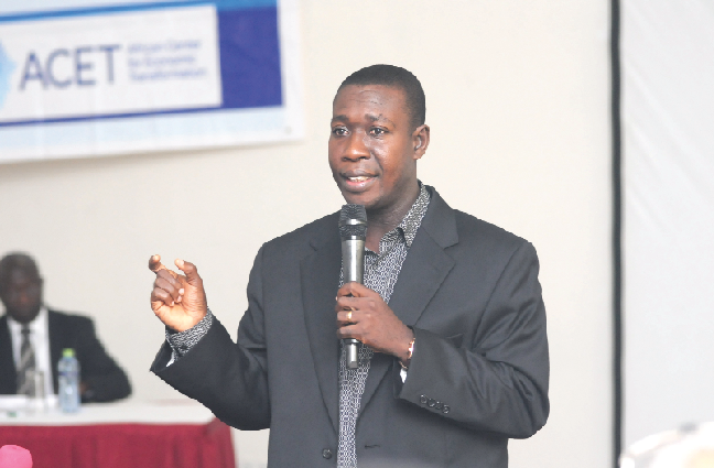 Dr. Baah-Boateng makes a presentation at a National Policy Dialogue on Youth Employment